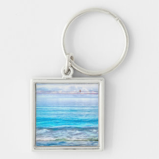 What a view of the ocean Silver-Colored square key ring