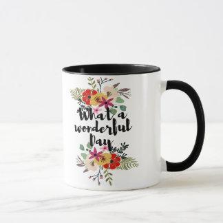 What-a-wonderful Day Black Ringer Coffee Mug