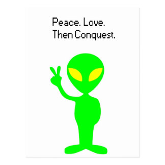 What Aliens are Thinking Cartoon Post Card