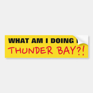 """""""WHAT AM I DOING IN THUNDER BAY?!"""" Bumper Sticker"""