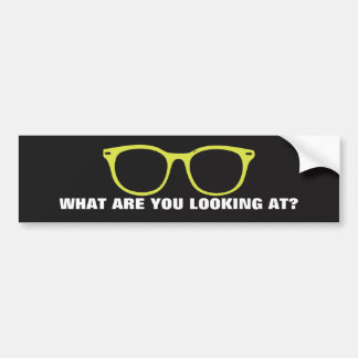 What Are You Looking At Green Glasses Sticker Bumper Sticker
