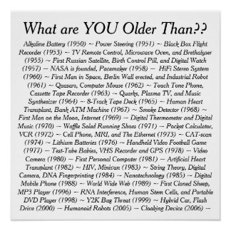 What Are YOU Older Than Poster