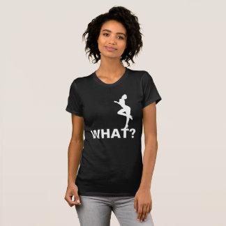 What? Asks a beauty. Black Customizable T-Shirt