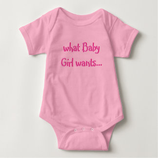 """What Baby Girl Wants"" Pink Onesy for a Diva Doll Baby Bodysuit"