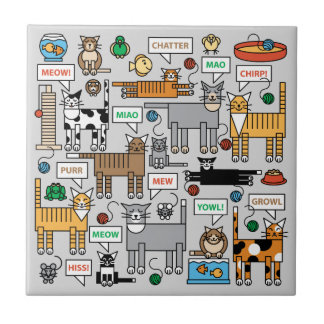What Cats Say Small Square Tile