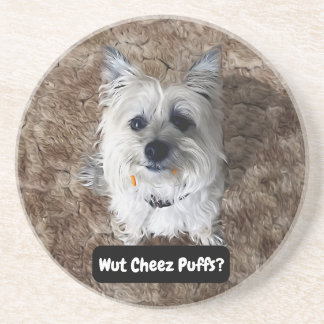What Cheese Puffs? Round Sandstone Coaster