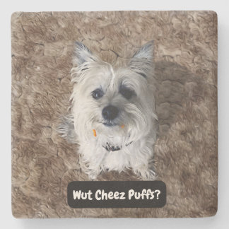 What Cheese Puffs? Square Stone Coaster