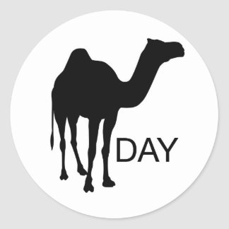 What day is it... Wednesday! Hump Day! Round Sticker