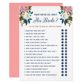 What Did He Say About His Bride Yes or No Game Card