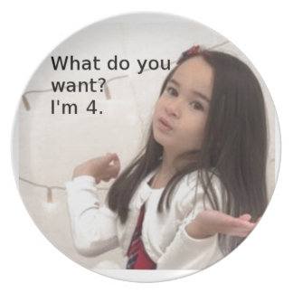 """What Do You Want? I'm 4."" Customizable Kid Photo Plate"