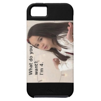 """""""What Do You Want? I'm 4."""" Customizable Kid Photo Tough iPhone 5 Case"""