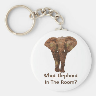 What Elephant In The Room Basic Round Button Key Ring