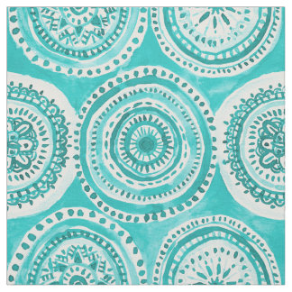 WHAT GOES AROUND Aqua Mandala Watercolor Fabric