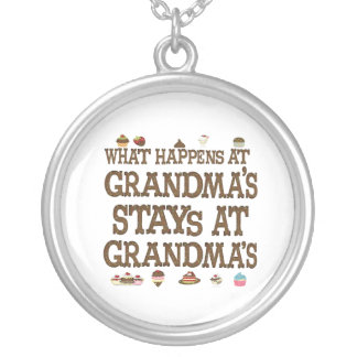 What Happens at Grandmas Round Pendant Necklace