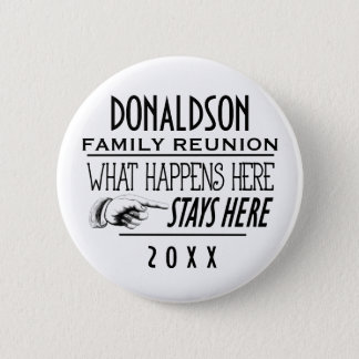 What Happens Here Fun Family Reunion Gift 6 Cm Round Badge