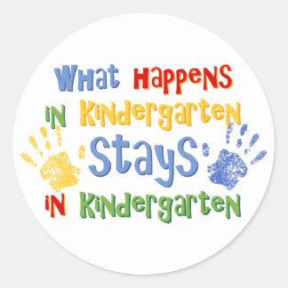 What Happens In Kindergarten Classic Round Sticker