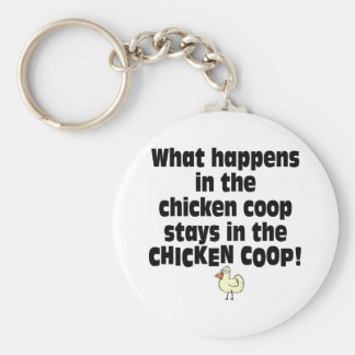 What Happens in the Chicken Coop Basic Round Button Key Ring