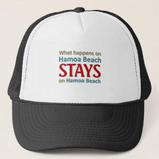 What happens on Hamoa Beach Trucker Hat