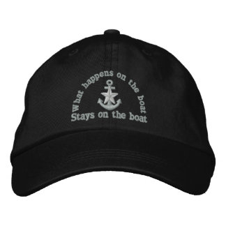 What happens on the boat silver star anchor embroidered cap