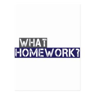 what homework? postcard