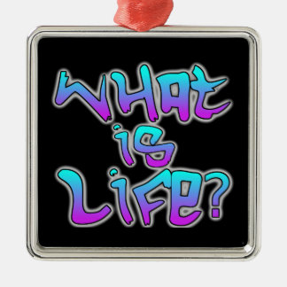 What is Life? Silver-Colored Square Decoration