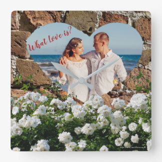 "What Love is? ""bricks border with flowers"" Square Wall Clock"