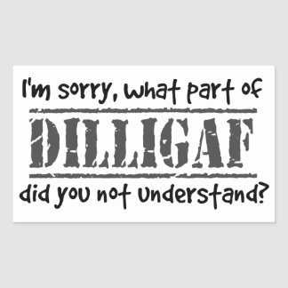 What part of DILLIGAF did you not understand? Rectangular Sticker