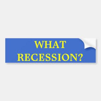 WHAT RECESSION? Bumper Sticker