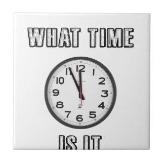 what time is it, clock small square tile