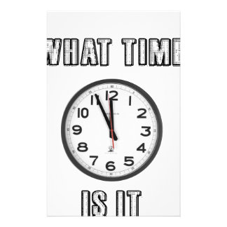 what time is it, clock stationery