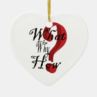 what why how Question Mark Ceramic Heart Decoration