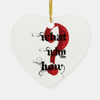 what why how Question Mark vintage Ceramic Heart Decoration