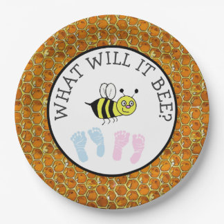 What will it Bee Baby Shower Bumble Paper Plates 9 Inch Paper Plate