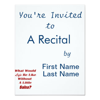what would life be like without a little salsa txt 11 cm x 14 cm invitation card