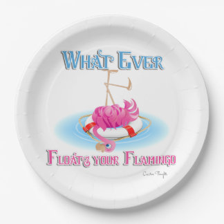 Whatever Floats Your Flamingo Paper Plate