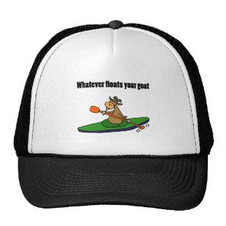 Whatever Floats your Goat Kayaking Cartoon Cap