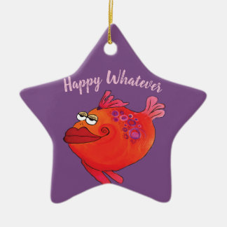Whatever Funky Fish Art Holiday in Pink and Red Ceramic Ornament