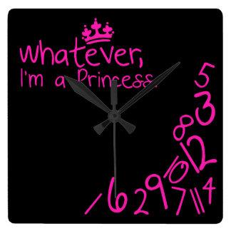 Whatever, I'm a Princess Square Wall Clock