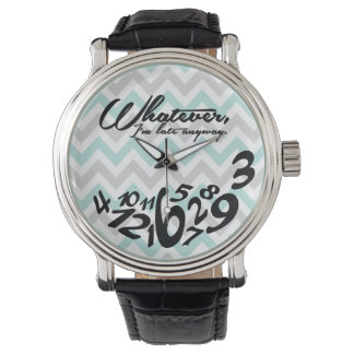 Whatever, I'm late anyway - blue and gray chevron Wristwatches