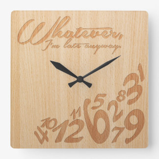 Whatever, I'm late anyway - Faux Engrave Wood Look Wall Clocks