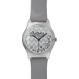 Whatever, I'm late anyway - Gray Chevron Pattern Watch