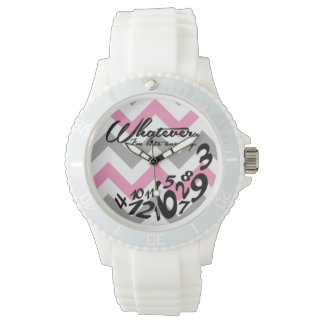 whatever, I'm late anyway - pink and gray chevron Wrist Watch