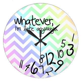 whatever, I'm late anyway - rainbow chevron Clocks