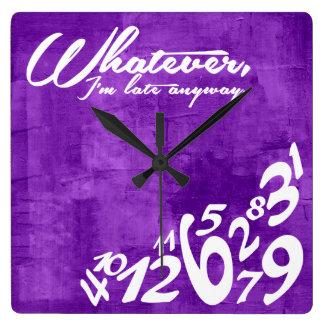 Whatever, I'm late anyway - rustic purple Clocks