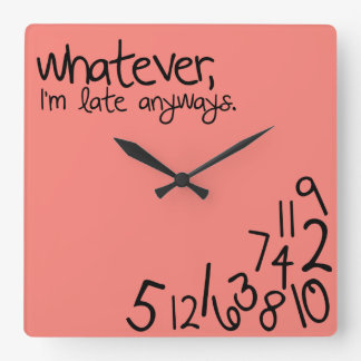 whatever, i'm late anyways - Coral Pink Wallclocks