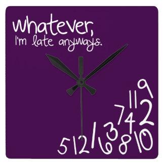 whatever, I'm late anyways - eggplant purple Wallclock