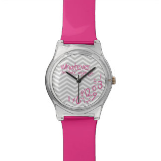Whatever, I'm late anyways - Pink with Chevron Watch