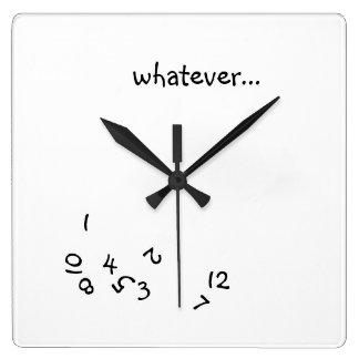 Whatever O'Clock Square Wall Clock