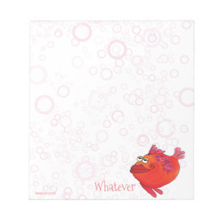 Whatever Whimsical Fish Art in Red and Pink Notepad