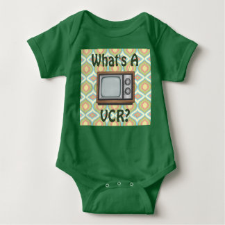 """What's a VCR?"" Retro TV Baby Bodysuit"